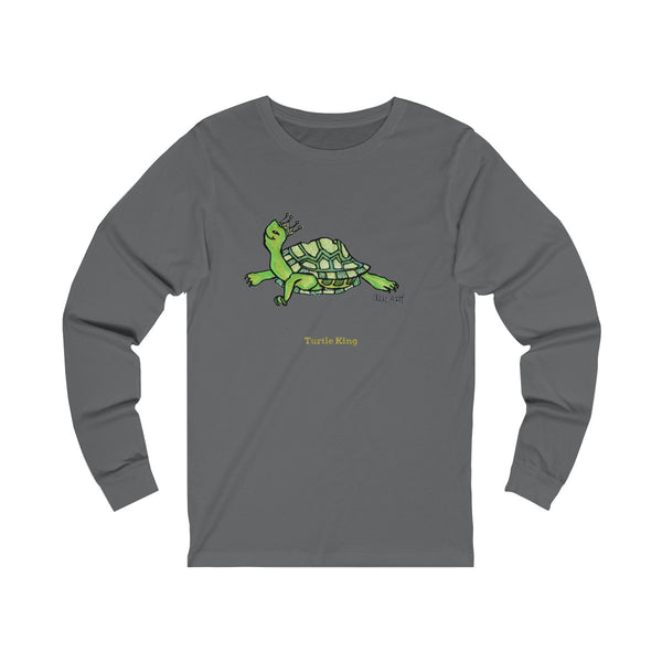 Turtle King Unisex Jersey Long Sleeve Tee Unisex T-Shirt, Made in USA (Size: X-2XL)-Long-sleeve-Asphalt-S-Heidi Kimura Art LLC