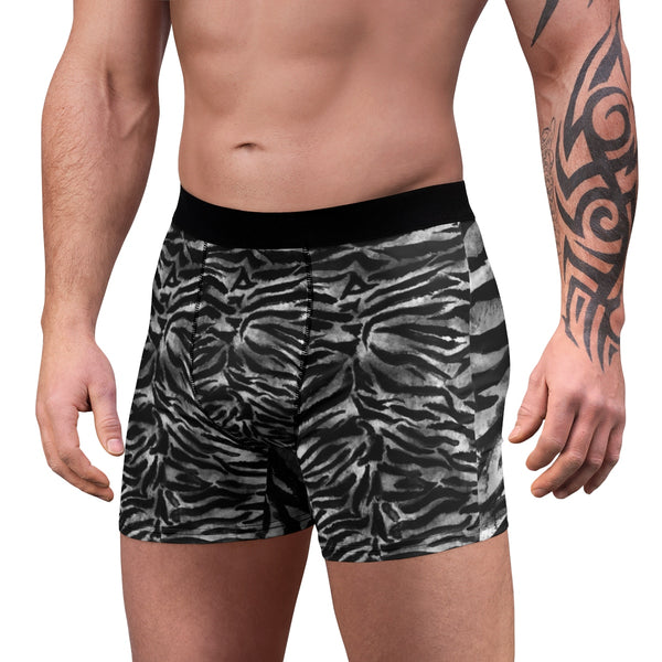 Gray Tiger Striped Men's Boxers, Animal Print Sexy Hot Men's Boxer Briefs Underwear-Men's Underwear-Heidi Kimura Art LLC