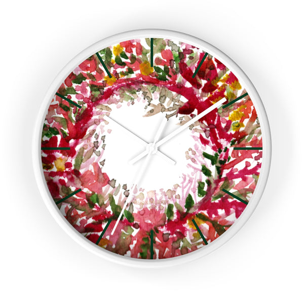 Fall Orange Red Floral Print Designer 10 in. Dia. Indoor Wall Clock- Made in USA-Wall Clock-10 in-White-White-Heidi Kimura Art LLC