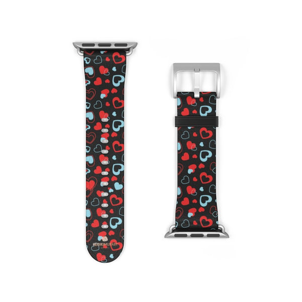 Black Red Hearts Shaped V Day 38mm/42mm Watch Band For Apple Watch- Made in USA-Watch Band-38 mm-Silver Matte-Heidi Kimura Art LLC