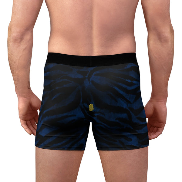 Blue Tiger Striped Men's Undies, Navy Blue Tiger Animal Print Underwear-(US Size: XS-3XL)-Men's Underwear-Heidi Kimura Art LLC