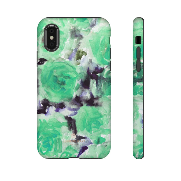 Turquoise Floral Print Tough Cases, Designer Phone Case-Made in USA-Phone Case-Printify-iPhone X-Matte-Heidi Kimura Art LLC