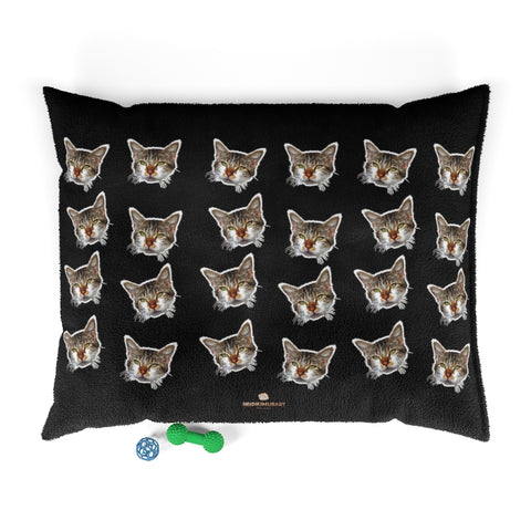 Black Cat Pet Bed, Solid Color Machine-Washable Pet Pillow With Zippers-Printed in USA-Pets-Printify-50x40-Heidi Kimura Art LLC