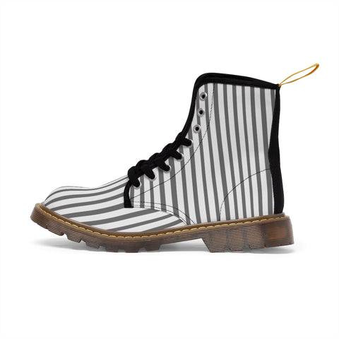 Grey Striped Women's Canvas Boots, Best Designer Modern Stripes Winter Boots For Ladies-Shoes-Printify-Heidi Kimura Art LLC Grey Striped Women's Canvas Boots, Vertically White Striped Print Designer Women's Winter Lace-up Toe Cap Boots Shoes For Women   (US Size 6.5-11)