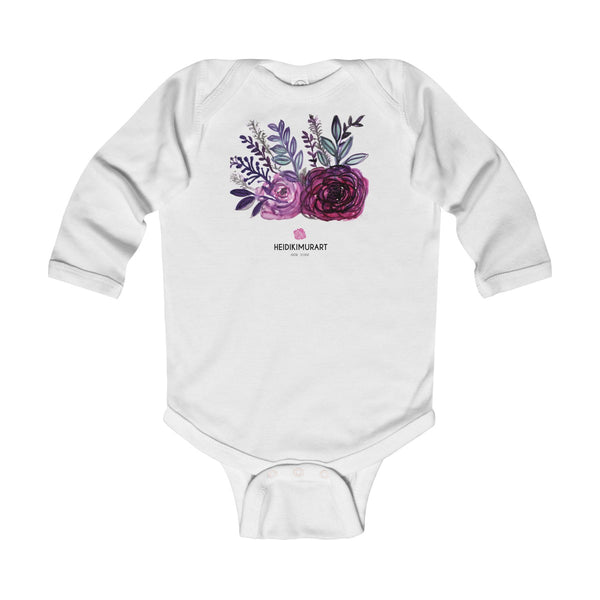 Floral Rose Print Infant Long Sleeve Bodysuit - Made in United Kingdom (Size: 6M-24M)-Kids clothes-White-12M-Heidi Kimura Art LLC