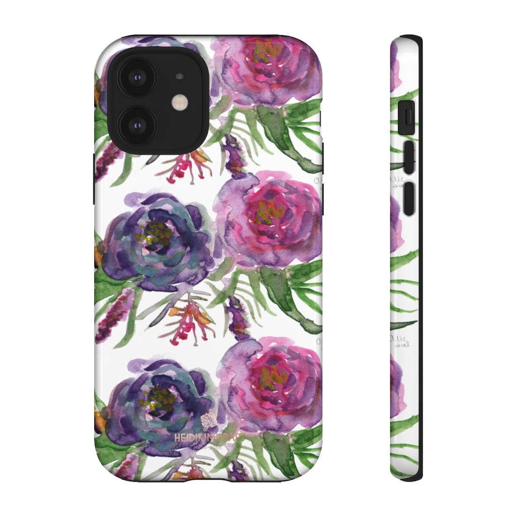Pink Floral Print Phone Case, Roses Tough Designer Phone Case -Made in USA-Phone Case-Printify-iPhone 12-Glossy-Heidi Kimura Art LLC