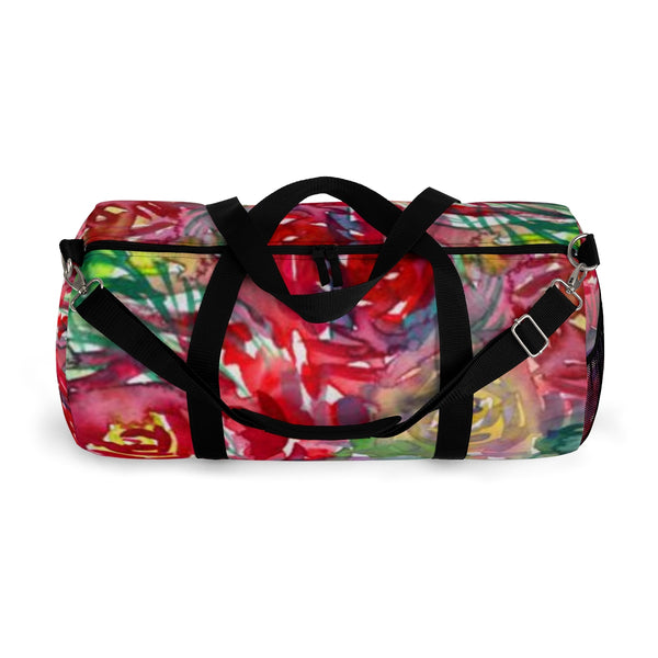 Floral Red Rose Print All Day Small Or Large Size Duffel Bag, Made in USA-Duffel Bag-Heidi Kimura Art LLC