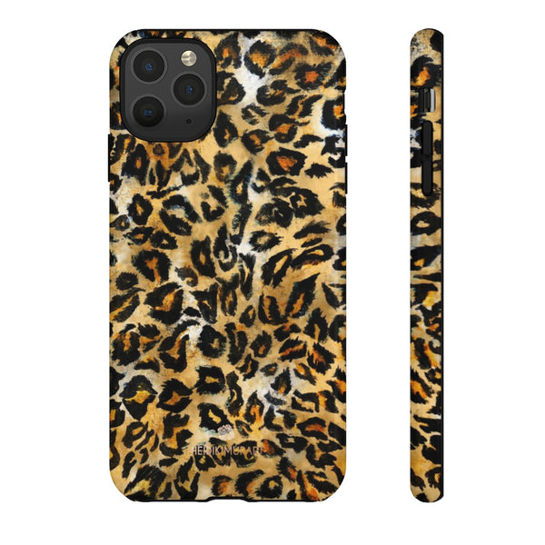 Brown Leopard Tough Cases, Animal Print Best Designer Phone Case-Made in USA-Phone Case-Printify-iPhone 11 Pro Max-Glossy-Heidi Kimura Art LLC