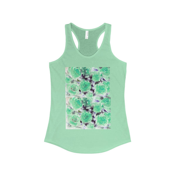 Nobusuke Ice Blue Rose Floral Women's Ideal Racerback Tank -Made in the U.S.A. (US Size: XS-2XL)-Tank Top-Solid Mint-L-Heidi Kimura Art LLC