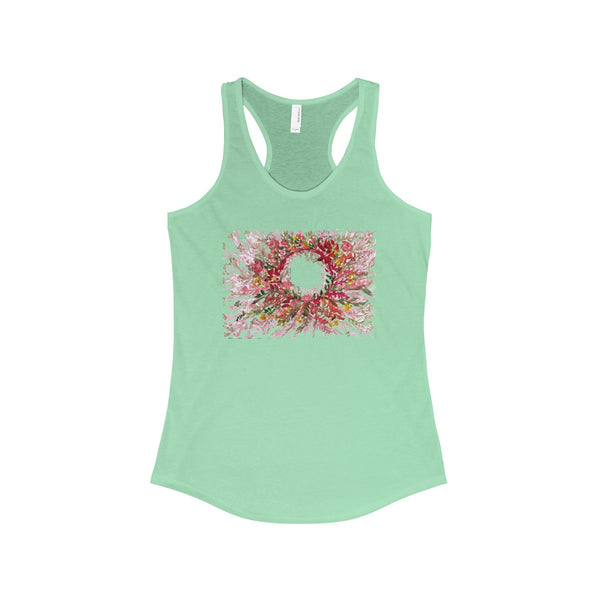 Red Floral Print Women's Racerback Tank Top, Fashionable Tanks- Made in the USA (US Size: XS-2XL)-Tank Top-Solid Mint-XS-Heidi Kimura Art LLC