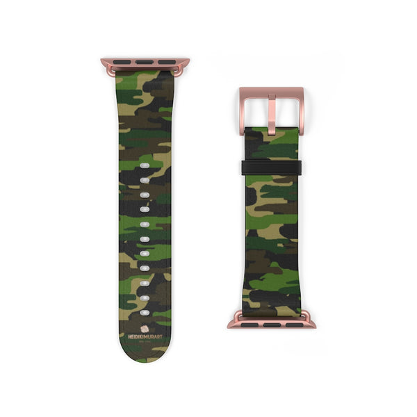 Dark Green Classic Camo Print 38mm/42mm Watch Band For Apple Watch- Made in USA-Watch Band-38 mm-Rose Gold Matte-Heidi Kimura Art LLC