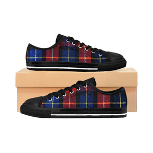 Kokoro Red Blue Plaid Tartan Print Designer Low Top Women's Sneakers Shoes (US Size: 6-12),Red Plaid Shoes,Women Plaid Low Top,Tartan Shoes  Kokoro Red Blue Plaid Tartan Print Designer Low Top Women's Sneakers Shoes (US Size: 6-12)