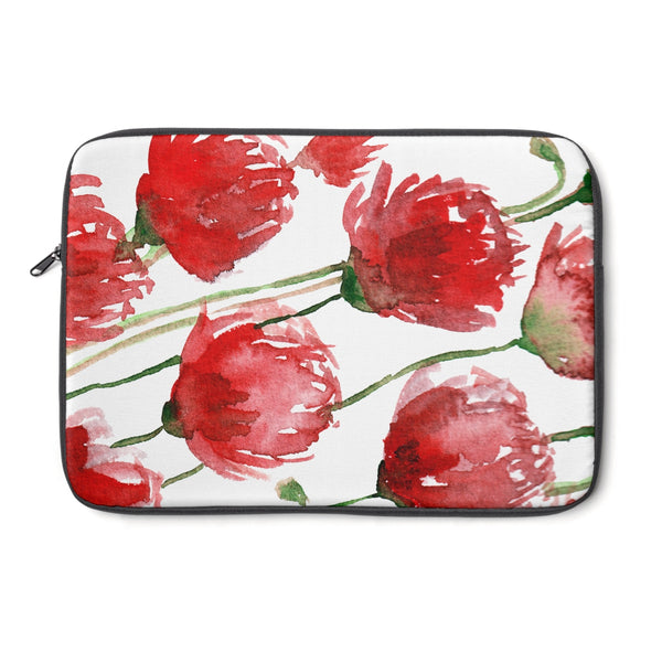"Miki Red Poppy Flower Floral Print 12', 13"", 14"" Laptop Sleeve - Designed + Made in the USA - Heidi Kimura Art LLC"