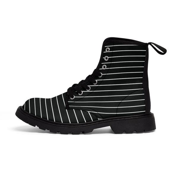 Black White Striped Print Men's Boots, Modern Best Hiking Winter Boots Laced Up Shoes For Men-Men's Boots-Printify-ArtsAdd-Heidi Kimura Art LLC
