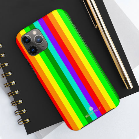 Rainbow Stripe Gay Pride iPhone Case, Case Mate Tough Samsung Galaxy Phone Cases-Phone Case-Printify-iPhone 11 Pro-Heidi Kimura Art LLC Rainbow Striped Phone Case, Gay Pride iPhone Case, Colorful Gay Friendly Vertical Striped Print Phone Case, Designer Case Mate Tough Phone Cases For iPhones or Samsung Galaxy Devices -Made in USA