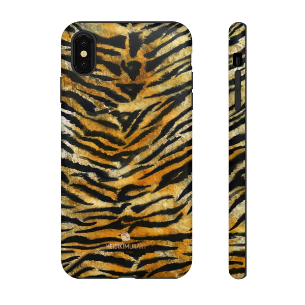 Tiger Stripe Print Phone Case, Animal Print Tough Designer Phone Case -Made in USA-Phone Case-Printify-iPhone XS MAX-Matte-Heidi Kimura Art LLC