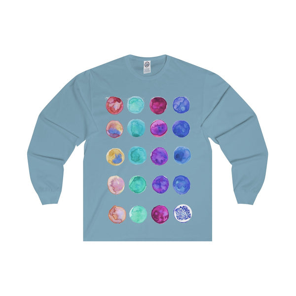 Polka Dots Unisex Designer Premium Long Sleeve Tee - Designed + Made in USA-Long-sleeve-Sky Blue-S-Heidi Kimura Art LLC