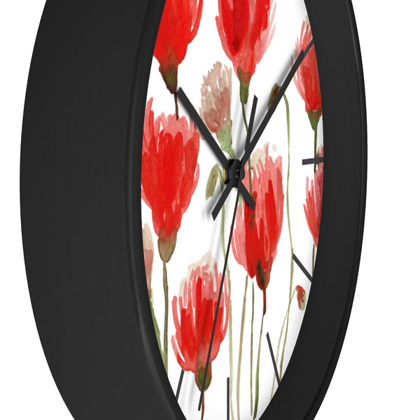 Orange Red Tulips Floral Print Large 10 inch Diameter Flower Wall Clock - Made in USA-Wall Clock-Heidi Kimura Art LLC
