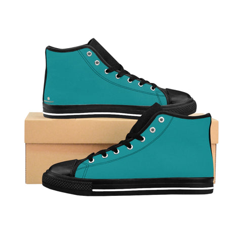 Classic Blue Teal Solid Color Women's High Top Sneakers Running Shoes (US Size 6-12)-Women's High Top Sneakers-US 9-Heidi Kimura Art LLC Teal Blue Women's Sneakers, Classic Blue Teal Solid Color Women's High Top Sneakers Running Shoes (US Size 6-12)