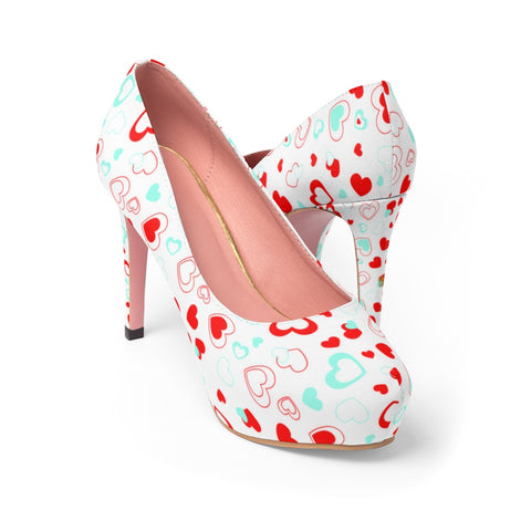 White Red Heart Shaped Print Designer Valentine's Day Women's Platform Heels Shoes-4 inch Heels-US 7-Heidi Kimura Art LLC