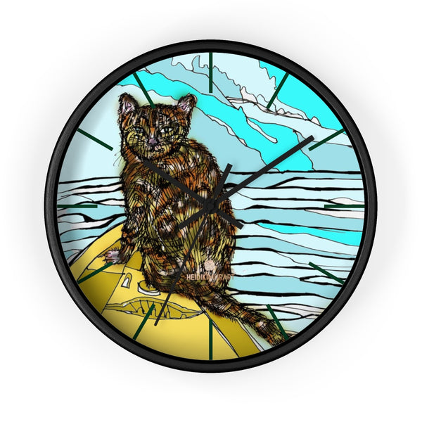 Boat Cat Print Wall Clock, Brown Orange Cat Print 10 in. Dia. Indoor Clock- Made in USA-Wall Clock-10 in-Black-Black-Heidi Kimura Art LLC