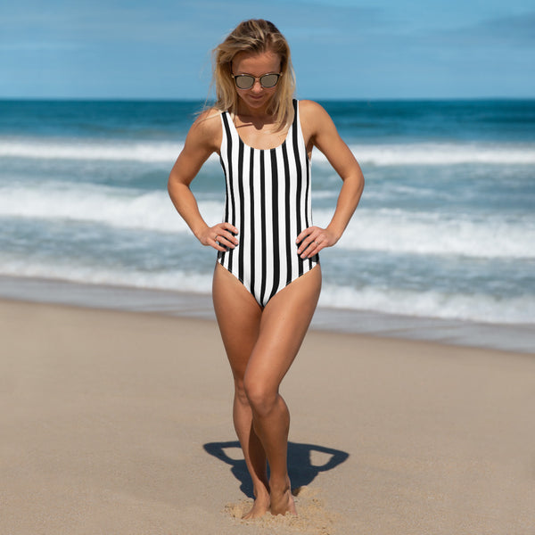 Black Striped Women's Swimsuit, Black White Vertical Striped Print Women's Polyester Spandex Cheeky Fit One-Piece Swimsuit Swimwear-Made in USA/EU (US Size: XS-3XL) Plus Size Available, Black And White Striped Bathing Suit, Striped One Piece Swimsuit, Women's Swimsuits, Black And White Striped Swimsuit, Black And White Vertical Striped One Piece Swimsuit, Black And White Swimsuit One Piece, Black And White Bathing Suit