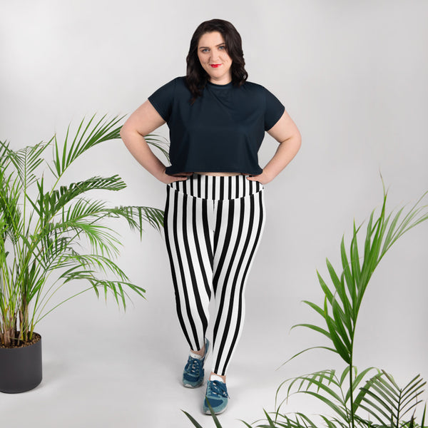 White and Black Vertical Stripe Print Women's Plus Size Leggings- Made in USA-Women's Plus Size Leggings-Heidi Kimura Art LLC