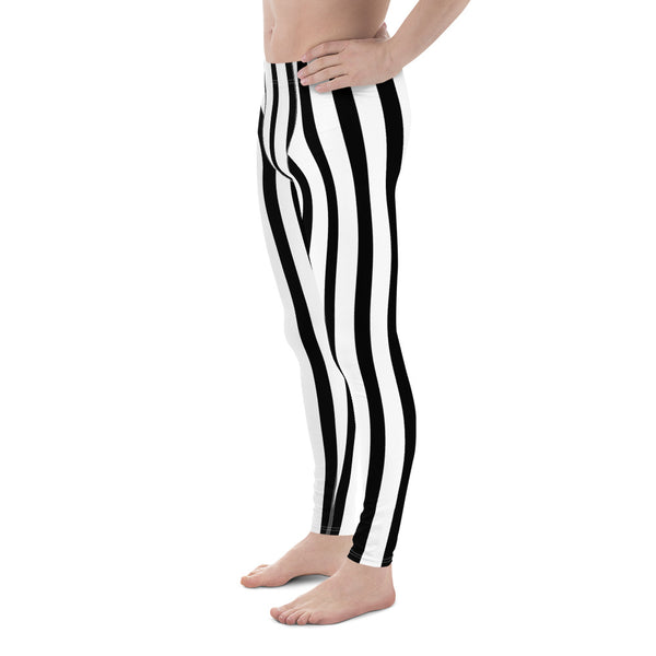 Black White Vertical Striped Meggings, Men's Running Leggings Tights -Made in USA/EU-Men's Leggings-Heidi Kimura Art LLC