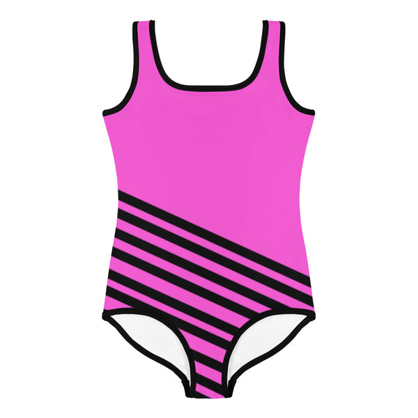 Pink + Black Diagonally Striped Print Girl's Cute Premium Kids Swimsuit- Made in USA-Kid's Swimsuit (Girls)-Heidi Kimura Art LLC Pink Striped Girl's Swimsuit, Pink + Black Diagonally Striped Print Girl's Cute Premium Kids Swimsuit Bathing Suit - Made in USA/ Europe (US Size: 2T-7)