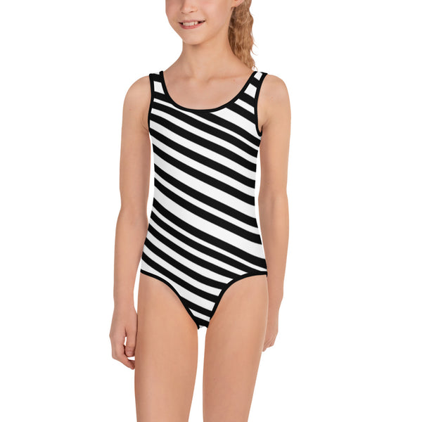 White Black Diagonal Striped Print Girl's Cute Premium Kids Swimsuit Bathing Suit-Kid's Swimsuit (Girls)-Heidi Kimura Art LLC Black Diagonal Striped Girl's Swimsuit, White Black Diagonal Striped Print Girl's Cute Premium Kids Swimsuit Bathing Suit - Made in USA/ Europe, Striped Swimsuit, Girl's Swimwear, Girls One Piece UPF 38-40 Sun Protective Fashion Swimsuit (US Size: 2T-7)