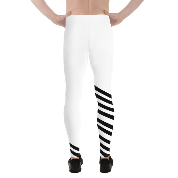Black White Diagonal Striped Men's Tights Meggings Activewear Tights-Made in USA/EU-Men's Leggings-Heidi Kimura Art LLC