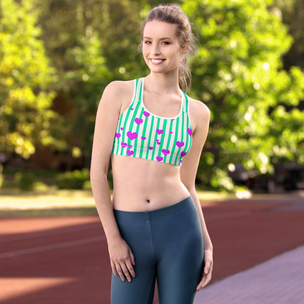 Cute Turquoise Blue Colorful Vertical Stripe Women's Unpadded Sports Bra - Made in USA-Sports Bras-Heidi Kimura Art LLC Blue Striped Sports Bra, Cute Turquoise Blue Colorful Vertical Stripe Women's Racer back Seamless Unpadded Sports Bra - Made in USA/ EU (US Size: XS-2XL)