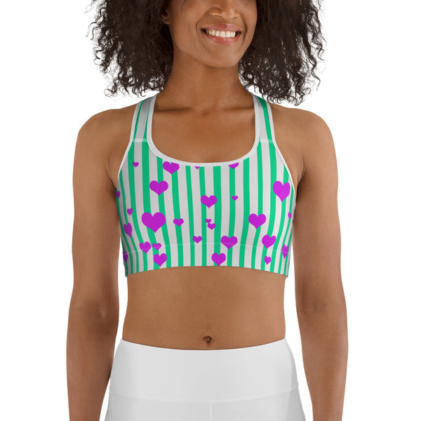 Cute Turquoise Blue Colorful Vertical Stripe Women's Unpadded Sports Bra - Made in USA-Sports Bras-Heidi Kimura Art LLC