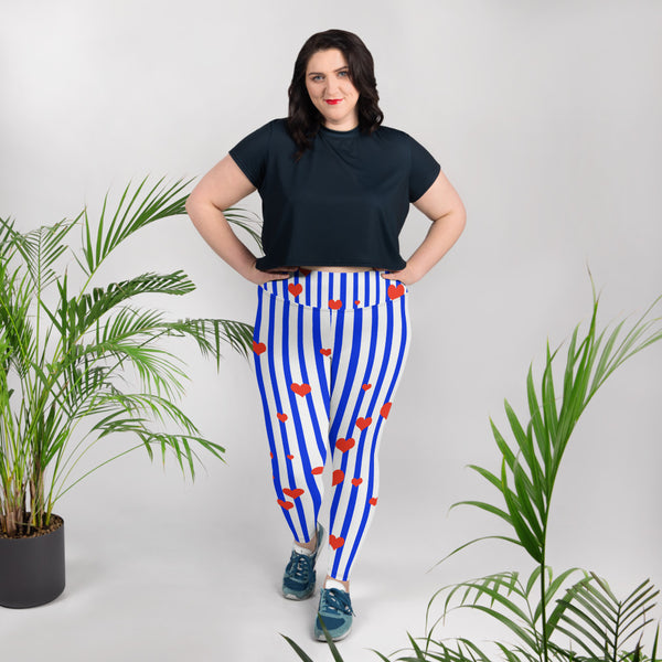 Patriotic Blue Stripe Print Women's High Waist Elastic Long Yoga Pants-Women's Plus Size Leggings-Heidi Kimura Art LLC