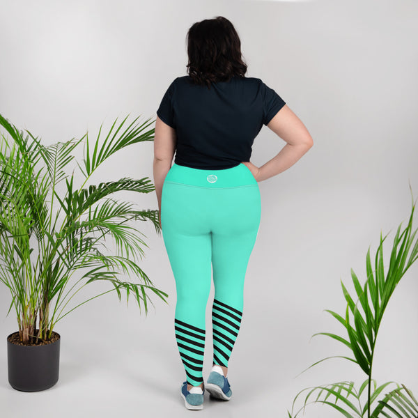 Turquoise Blue Black Diagonal Stripe Women's Yoga Pants Plus Size Yoga Leggings-Women's Plus Size Leggings-Heidi Kimura Art LLC Turquoise Blue Striped Leggings, Turquoise Blue Black Diagonal Stripe Women's Yoga Pants Plus Size Yoga Leggings - Made in USA/EU (US Size: 2XL-6XL)