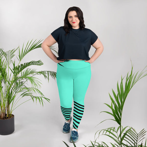 Turquoise Blue Striped Leggings, Turquoise Blue Black Diagonal Stripe Women's Yoga Pants Plus Size Yoga Leggings - Made in USA/EU (US Size: 2XL-6XL) Turquoise Blue Black Diagonal Stripe Women's Yoga Pants Plus Size Yoga Leggings-Women's Plus Size Leggings-Heidi Kimura Art LLC