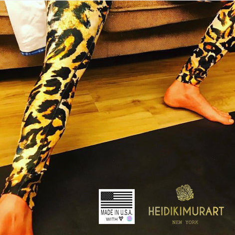 Green Plaid Print Men's Leggings, Tartan Plaid Printed Fashion Preppy Meggings-Made in USA/EU-Men's Leggings-Printful-Heidi Kimura Art LLC