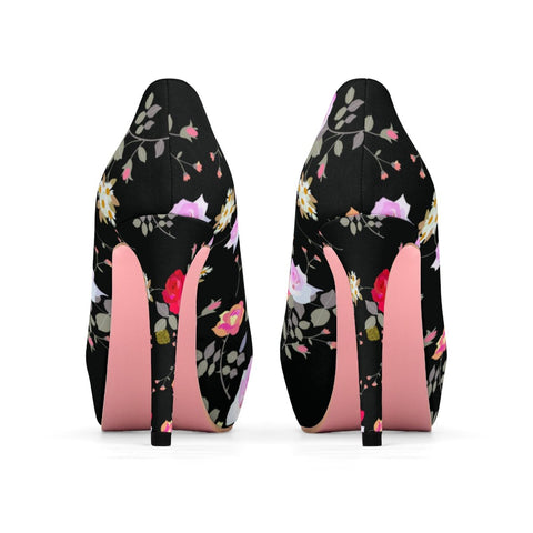 Black Floral Rose Heels, Flower Print Best Women's Platform Heels Stiletto Pumps Shoes-4 inch Heels-Heidi Kimura Art LLC
