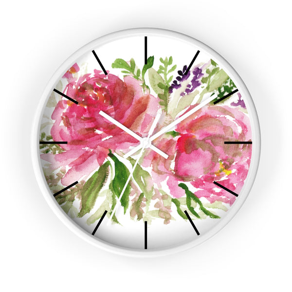 Pink Spring Rose Floral Print Flower 10 inch Diameter Flower Wall Clock - Made in USA-Wall Clock-White-White-Heidi Kimura Art LLC