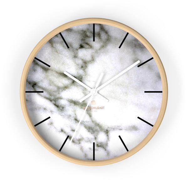 "White Marble Print Art Large Indoor Designer 10"" dia. Wall Clock-Made in USA-Wall Clock-10 in-Wooden-White-Heidi Kimura Art LLC"