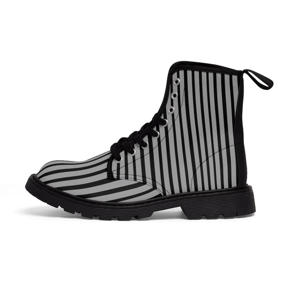 Grey Striped Print Men's Boots, Black Stripes Best Hiking Winter Boots Laced Up Shoes For Men-Shoes-Printify-Heidi Kimura Art LLCGrey Striped Print Men's Boots, Black Grey Stripes Men's Canvas Hiking Winter Boots, Fashionable Modern Minimalist Best Anti Heat + Moisture Designer Comfortable Stylish Men's Winter Hiking Boots Shoes For Men (US Size: 7-10.5)