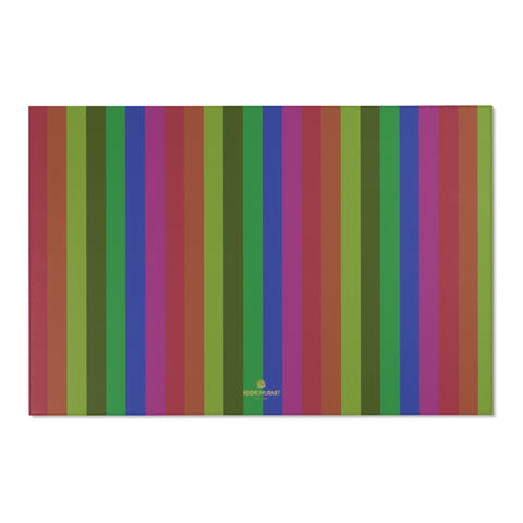 "Faded Rainbow Stripe Gay Pride Print 24x36/ 36x60/ 48x72 inches Area Rug-Area Rug-72"" x 48""-Heidi Kimura Art LLC"