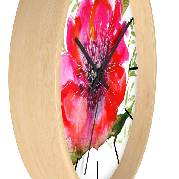"Pink Hibiscus Floral Clock, Hot Pink Hibiscus Floral Print 10 inch Diameter Modern Unique Indoor Wall Clock - Made in USA  Pink Hibiscus Floral Print Wall Clock, 10"" Dia. Modern Unique Indoor Clock-Made in USA-Wall Clock-Heidi Kimura Art LLC"