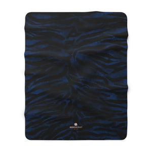 "Navy Blue Tiger Stripe Animal Print Designer Cozy Sherpa Fleece Blanket-Made in USA-Blanket-60"" x 80""-Heidi Kimura Art LLC"