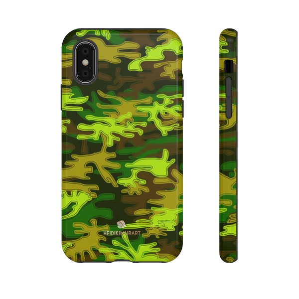 Green Camouflage Phone Case, Army Military Print Tough Designer Phone Case -Made in USA-Phone Case-Printify-iPhone X-Glossy-Heidi Kimura Art LLC