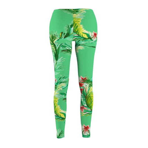 Emerald Green Rose Floral Print Women's Tights / Casual Leggings - Made in USA (US Size: XS-2XL)-Casual Leggings-Heidi Kimura Art LLC