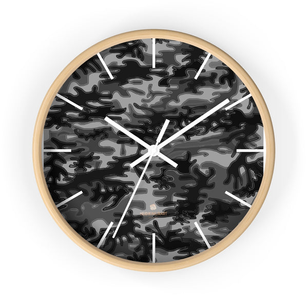 "Gray Camo Camouflage Military Army Print Large Unique 10"" Dia. Wall Clocks- Made in USA-Wall Clock-10 in-Wooden-White-Heidi Kimura Art LLC"