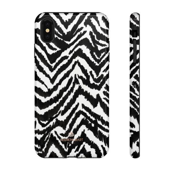 White Tiger Stripe Phone Case, Animal Print Best Tough Designer Phone Case -Made in USA-Phone Case-Printify-iPhone XS MAX-Glossy-Heidi Kimura Art LLC