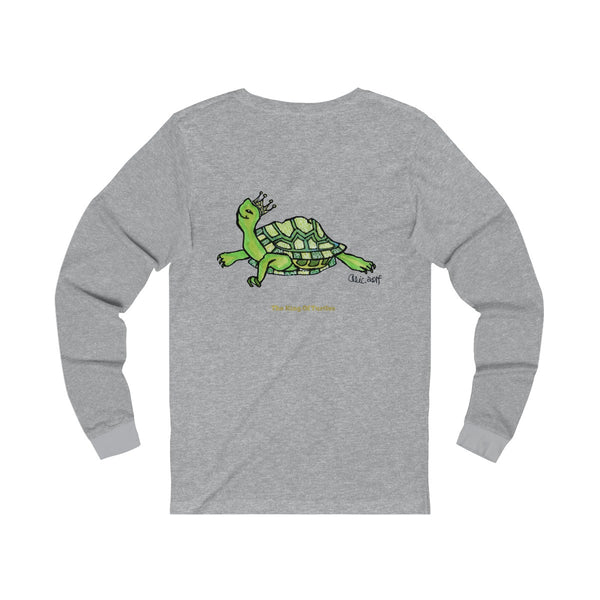 Turtle King Unisex Jersey Long Sleeve Tee Unisex T-Shirt, Made in USA (Size: X-2XL)-Long-sleeve-Heidi Kimura Art LLC
