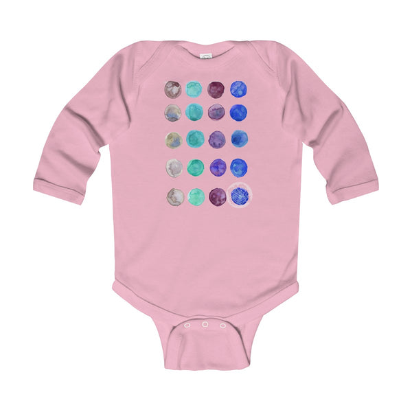 Polka Dots Infant Long Sleeve Bodysuit - Made in United Kingdom (UK Size: 6M-24M)-Kids clothes-Pink-12M-Heidi Kimura Art LLC